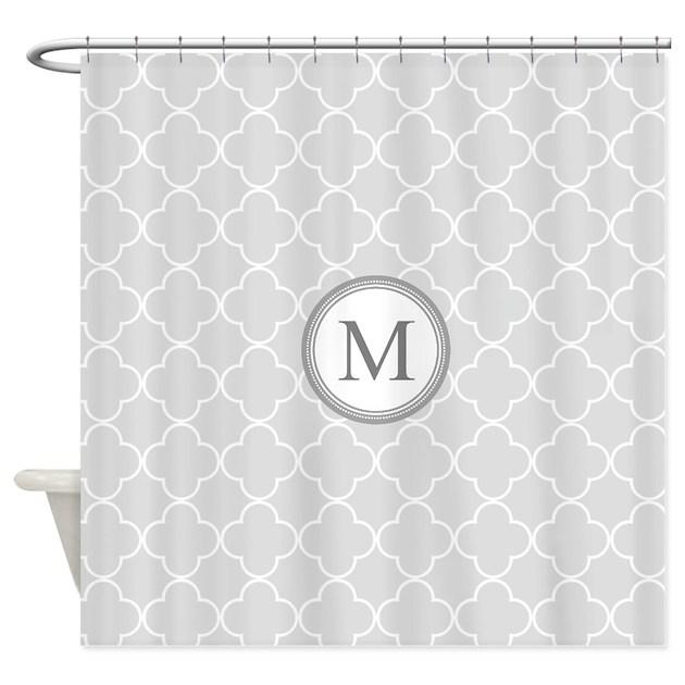 Light grey quatrefoil monogram shower curtain by for Quatrefoil bathroom decor