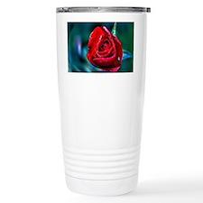 Water Droplet Red Rose Travel Coffee Mug