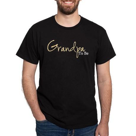 Grandpa To Be (Yellow Script) Dark T-Shirt