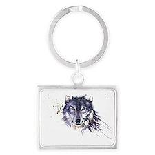 Snow Wolf Landscape Keychain