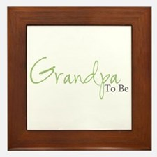 Grandpa To Be (Green Script) Framed Tile