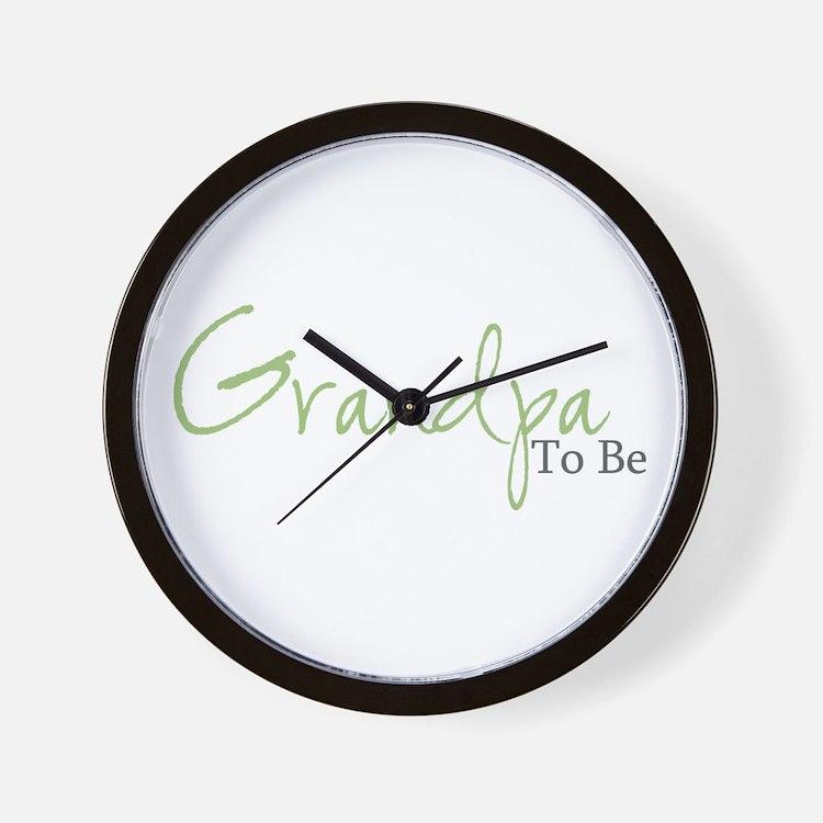 Grandpa To Be (Green Script) Wall Clock