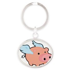 Pigs fly Oval Keychain