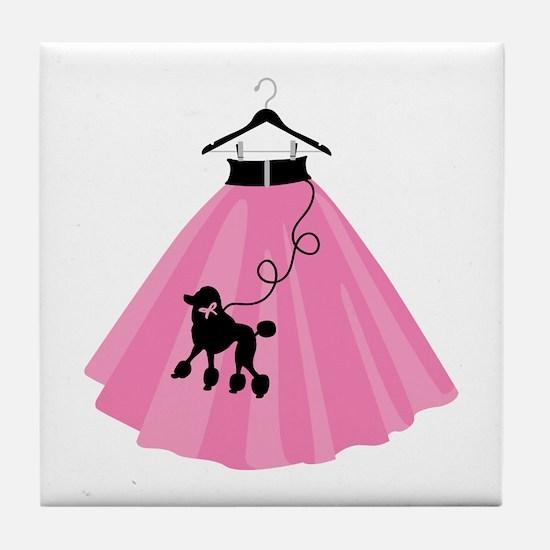 Poodle Skirt Tile Coaster