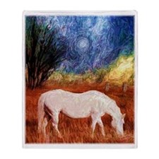 White Horse painting Throw Blanket