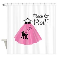 Rock and Roll Poodle Skirt Shower Curtain