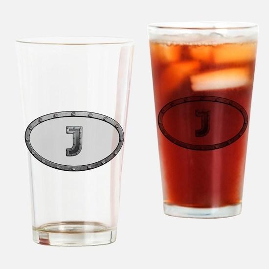 J Metal Oval Drinking Glass