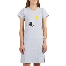 Gray Owl and Moon Women's Nightshirt
