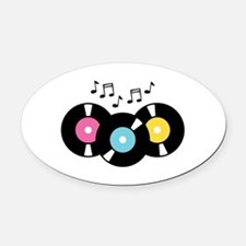 Music Records Notes Oval Car Magnet