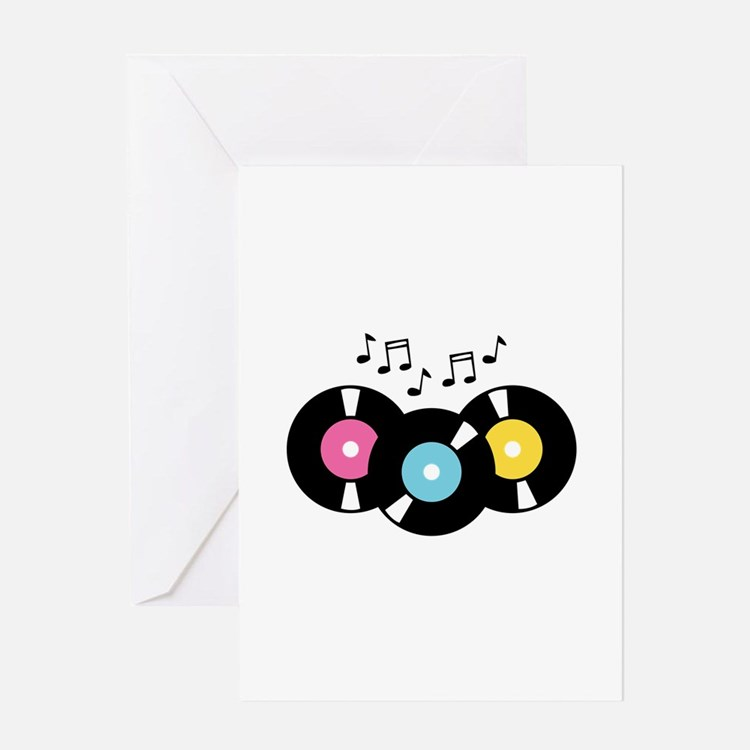 Music Records Notes Greeting Cards