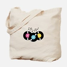 Music Records Notes Tote Bag