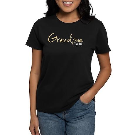 Grandma To Be (Yellow Script) Women's Dark T-Shirt