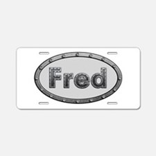Fred Metal Oval Aluminum License Plate