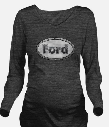 Ford Metal Oval Long Sleeve Maternity T-Shirt