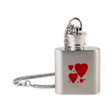 Valentines Day Hearts Flask Necklace