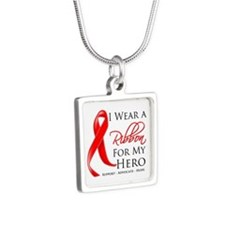 AIDS Hero Silver Square Necklace