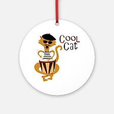Cool Cat Ornament (Round)