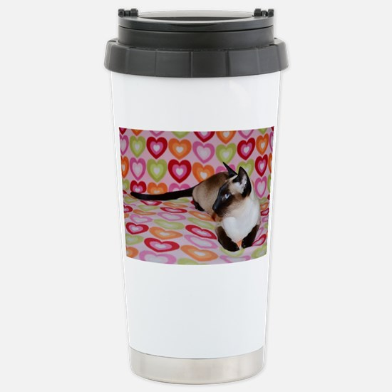 Siamese Cat Happy Valen Stainless Steel Travel Mug