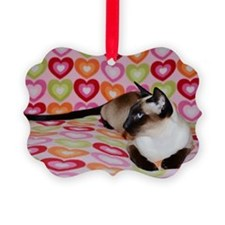 Siamese Cat Happy Valentine's Day Ornament