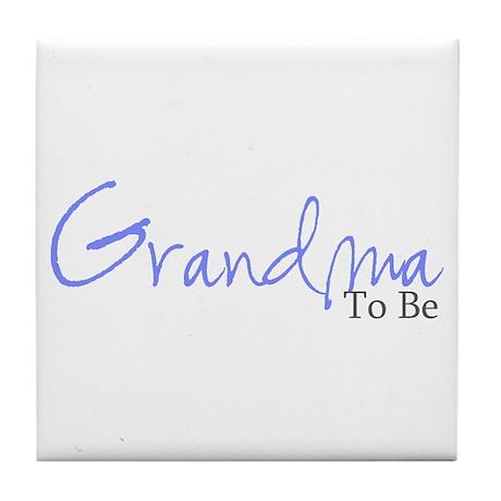 Grandma To Be (Blue Script) Tile Coaster