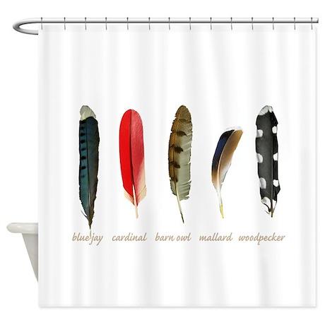 nature art bird feathers shower curtain