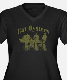 Eat Oysters Women's Plus Size V-Neck Dark T-Shirt