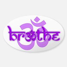 (Purple) Breathe With Om Sticker (Oval)