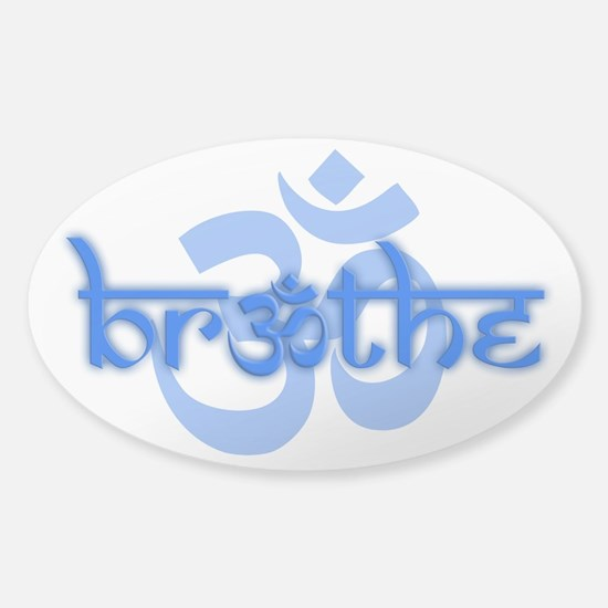 (Blue) Breathe With Om Sticker (Oval)