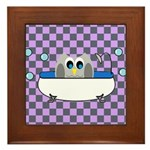 OWLSHOWERCURTAININTUBCHECKERBOARD3 Framed Tile