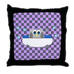 OWLSHOWERCURTAININTUBCHECKERBOARD3 Throw Pillow