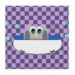 OWLSHOWERCURTAININTUBCHECKERBOARD3 Tile Coaster