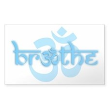 (Turquoise) Breathe W OM Sticker (Rectangle 10 Pk)