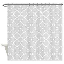 Light Grey Quatrefoil Pattern Shower Curtain