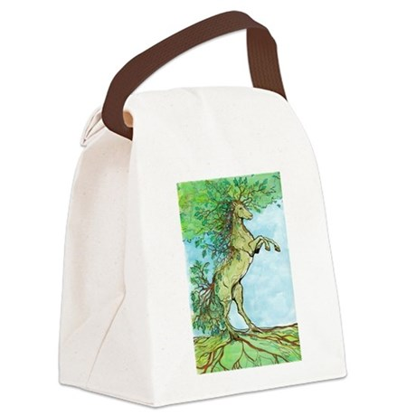 Wood Horse Canvas Lunch Bag
