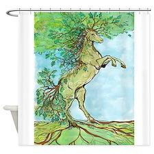 Wood Horse Shower Curtain