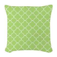 Lime Quatrefoil Pattern Woven Throw Pillow