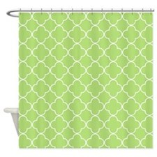 Lime Quatrefoil Pattern Shower Curtain