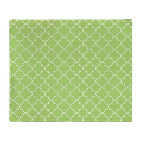Lime Quatrefoil Pattern Throw Blanket by DreamingMindCards