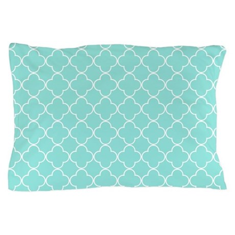 Aqua Quatrefoil Pattern Pillow Case