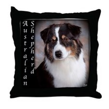 Australian Shepherd-Black-Tri Throw Pillow