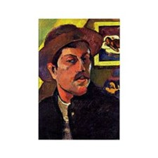 Gauguin - Self-Portrait with Hat Rectangle Magnet