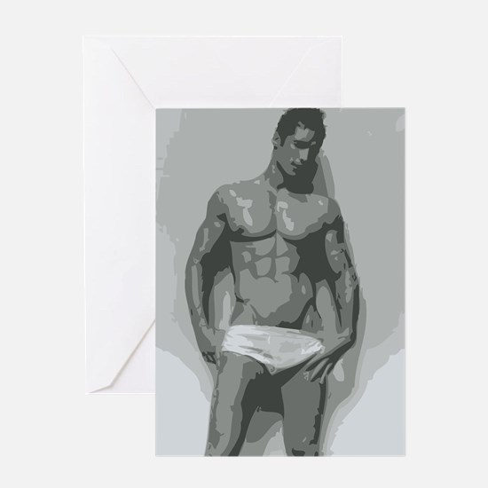 White - Nude Male Greeting Cards