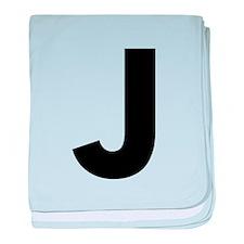 Letter J Black baby blanket