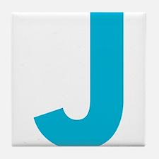 Letter J Blue Tile Coaster