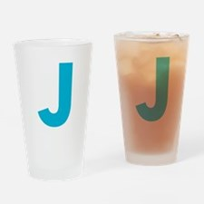 Letter J Blue Drinking Glass