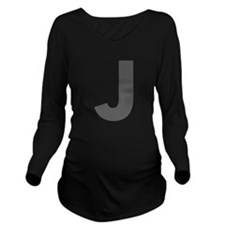Letter J Dark Gray Long Sleeve Maternity T-Shirt