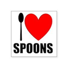 "I (Heart) SPOONS Square Sti Square Sticker 3"" X 3"""