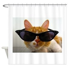 Cool Cat in Sunglasses Shower Curtain