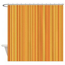 Peach And Orange Stripes Shower Curtain