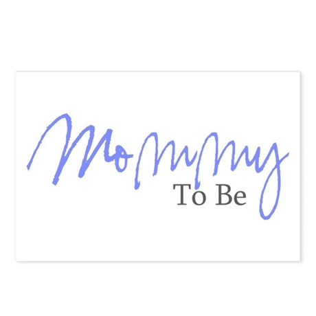 Mommy To Be (Blue Script) Postcards (Package of 8)